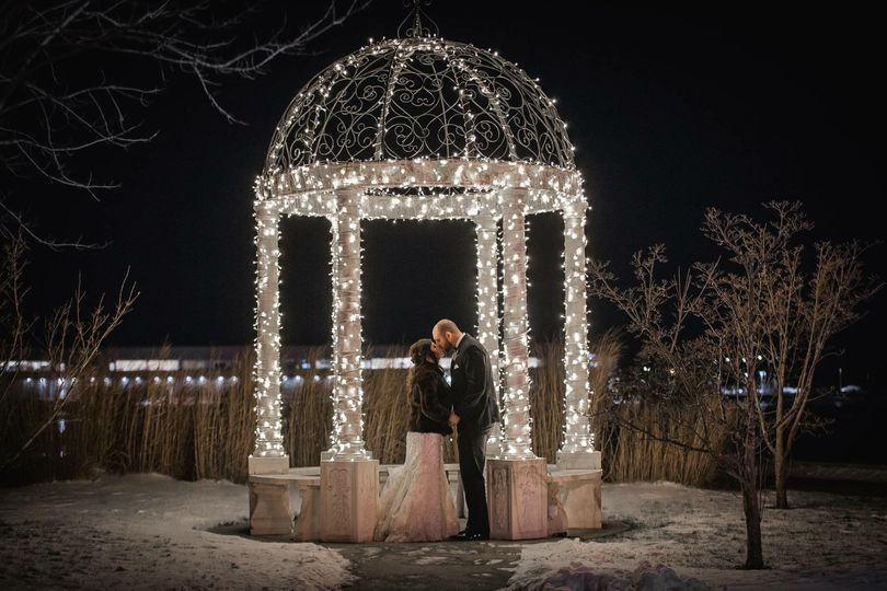 Our beautiful marble gazebo is perfect for photos.....even on NYE when it's below 0!!