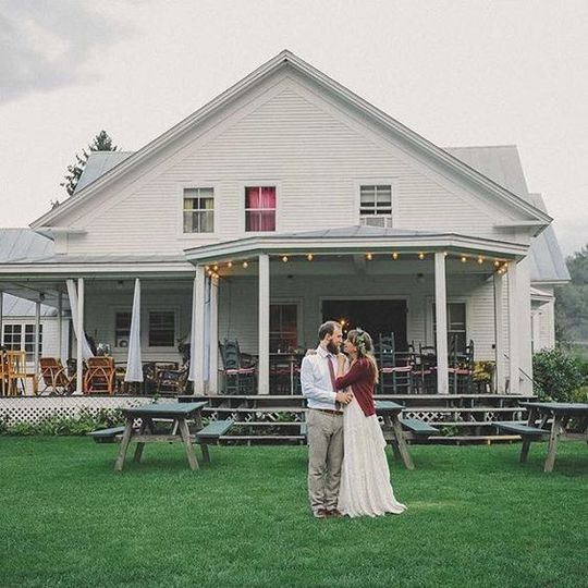 Newlyweds by the front yard