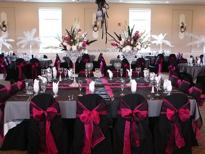 pink and black wedding reception decorations