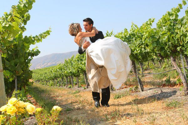 Edna Valley Vineyard bride & groom carried away