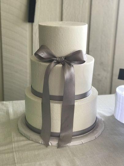 Grey ribbon cake