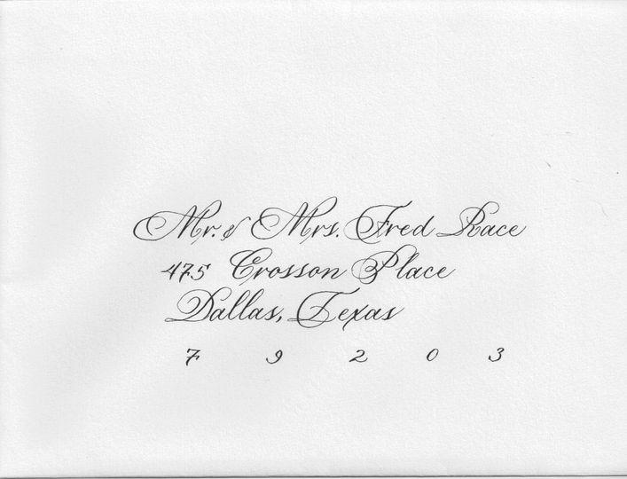 Wedding invite calligraphy