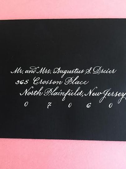 Black card, white calligraphy