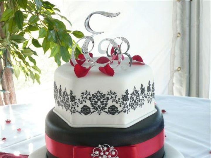 Tmx 1309442957804 BlackRedDamask Elkridge wedding cake