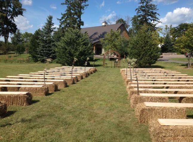 Hay seats for wedding ceremony