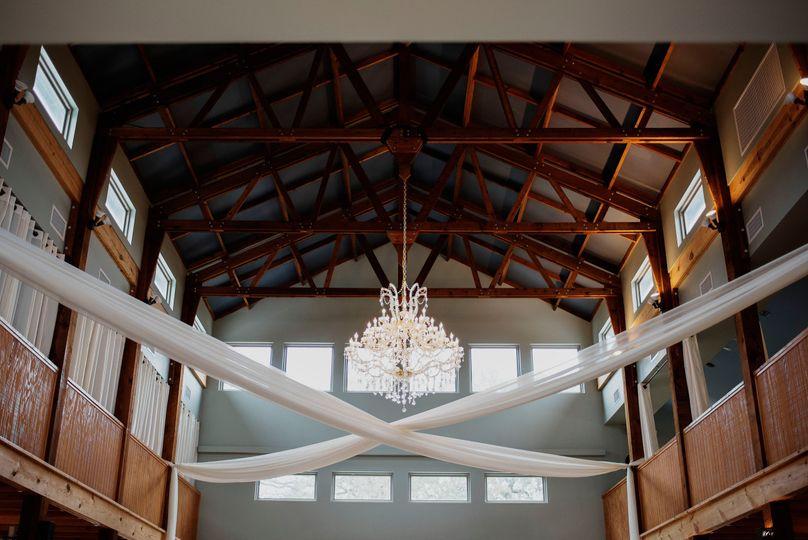 Interior Crystal Chandelier inside the Grand Reception Hall at La Estancia Bella.