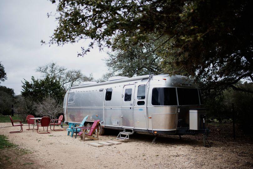 Exterior of Steel Magnolia Our Vintage Airstream at La Estancia Bella. Sleeps up to 4.