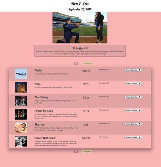 Ben & Evas used their HoneymoonReg registry to fund a fantastic honeymoon in Las Vegas