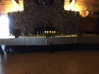 Head table in front of the fireplace
