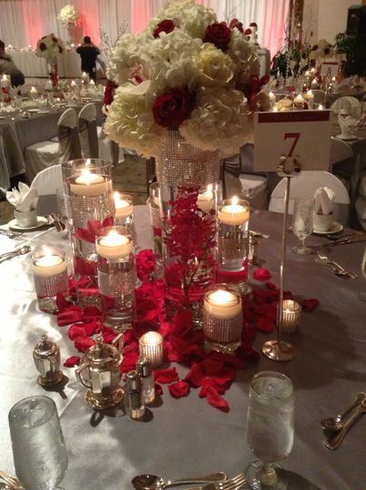 Flower and candles centerpiece