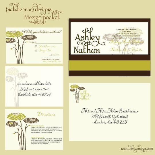 Invitation Set includes:  5x7 invitation, mezzo pocket, satin ribbon, rsvp, and outer envelope.