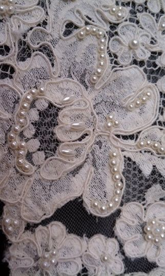 Vintage alencon lace and pearls after restoration