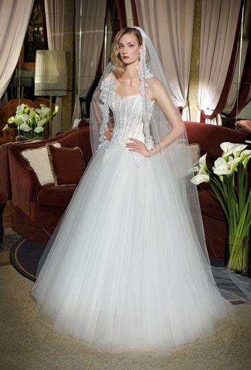 Tulle wedding gown