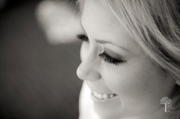 Black and white photo of the bride