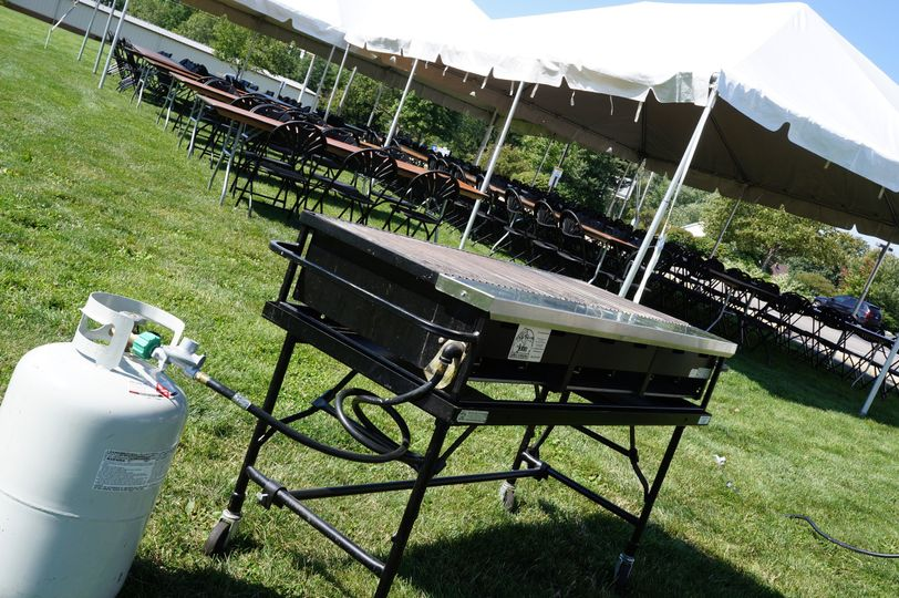 20x30 Deluxe Frame Tents, Propane Grill, Tables, Fanback Chairs