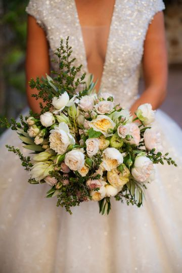 Jenna's stunning bouquet of local garden roses and textured greens.