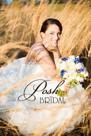 Bride sitting in the field