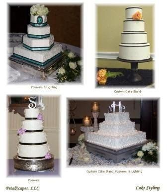 Images relects our work with floral decor' and custom cake stands specially made for the bride and...