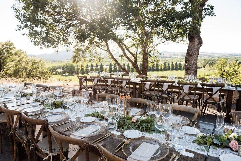 Farm tables at twilight