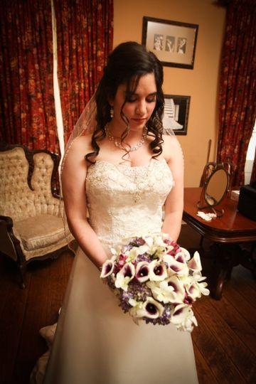 The bride holding a bouquet