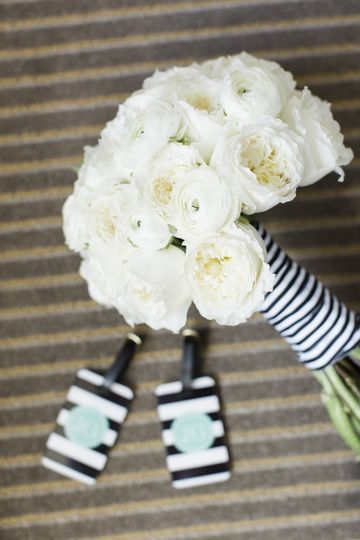 white garden roses with a navy striped ribbon chicflowers.net SanDiego