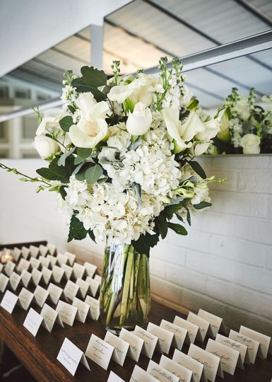 Floral arrangement with name cards