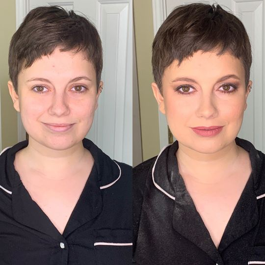 Before and after on pixie cut