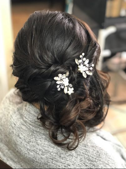 Soft and romantic side swept