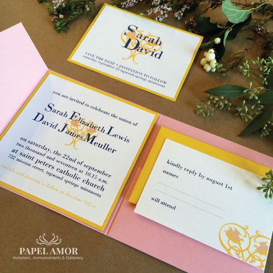Twining Hearts Wedding Invitation Suite. We have a wide variety of colors for envelopes and pocket...