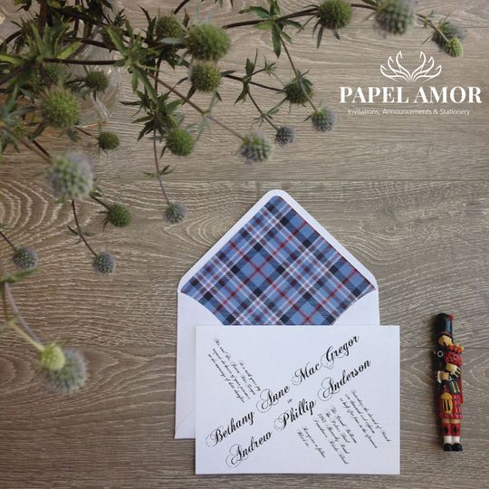 We can design design envelope liners that will compliment your wedding theme.  Here we used a tartan...
