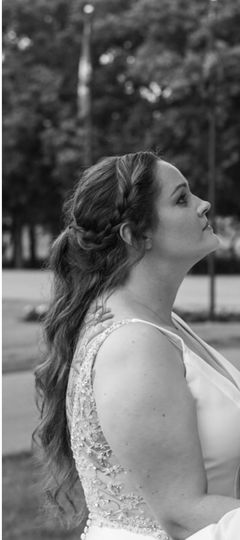 Profile shot of bride