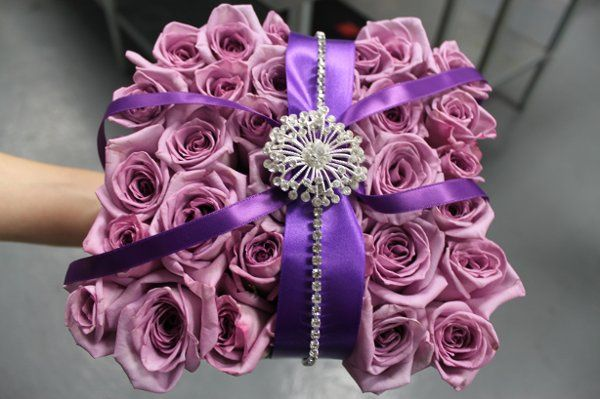 Purple pillow,Ring Bearer Pillow,diamond details,lavender roses