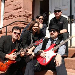 Our band poses for publicity shot in historic downtown Manassas Virginia.