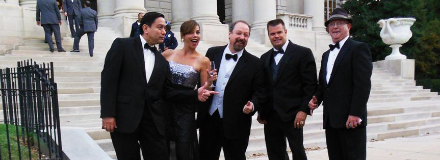 Our band in our formal attire posed in front of the Carnegie Institution in Washington DC where we...