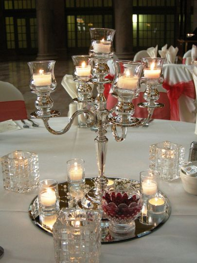 Beautiful Silver Candelabra with Mirrors, Pearls and Votive Candles