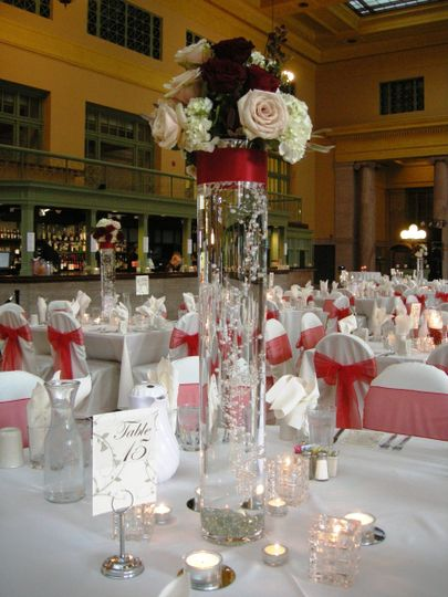 Tall Cylinder vase with submerges Pearl Garland, Ribbon and Bling Wrap and Fresh Floral Bouquet at...