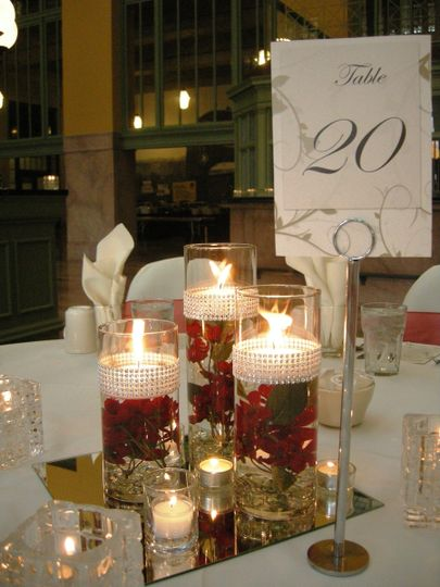 Trio Cylinders with Bling Wrap, Floating Candles, submerged Red Flowers, Mirrors and Votive Candles