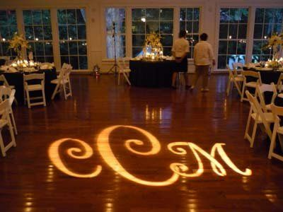 "This is a custom ""Monogram"" Gobo.  This is mounted on the lighting truss and can be shot anywhere in..."