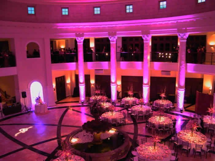 The Custom Gobo we talked about, behind the Bride and Groom table.