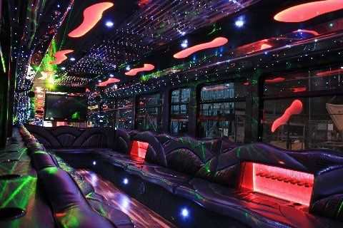 Party bus interior and lighting