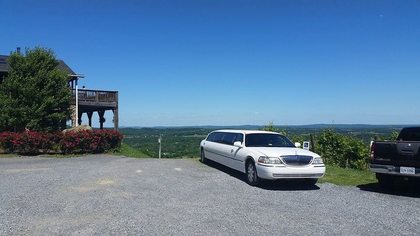 White stretched Lincoln limo
