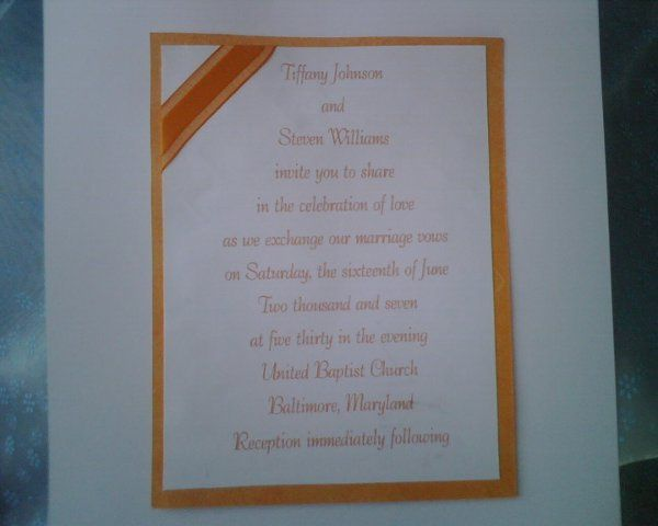 Orange Invitation with Ribbon on the Corner