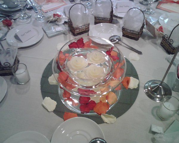Floating Candle in double bowl with rose petals