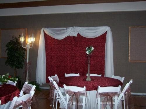 This is one of our backdrops with a guest table and centerpiece in the front of the photo