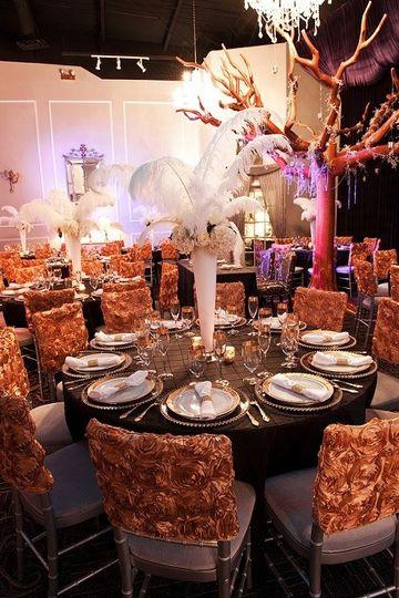 Wedding Reception feathers/Great Gatsby by Le Bam Studio wedding design