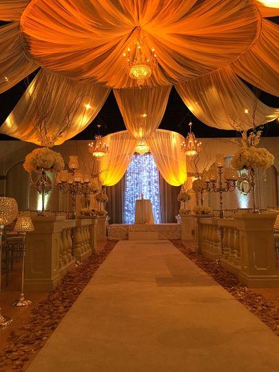 Gold and Amber Wedding Ceremony Le Bam Studio Wedding Design