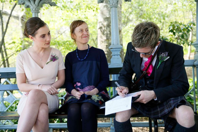 Signing the wedding license, central park ny