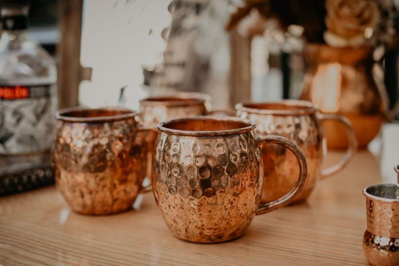 Copper glassware.
