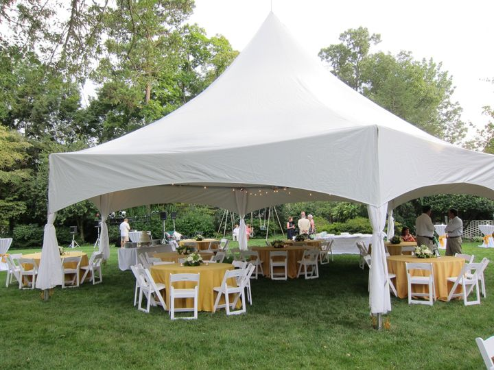 Outdoor tented receptions.