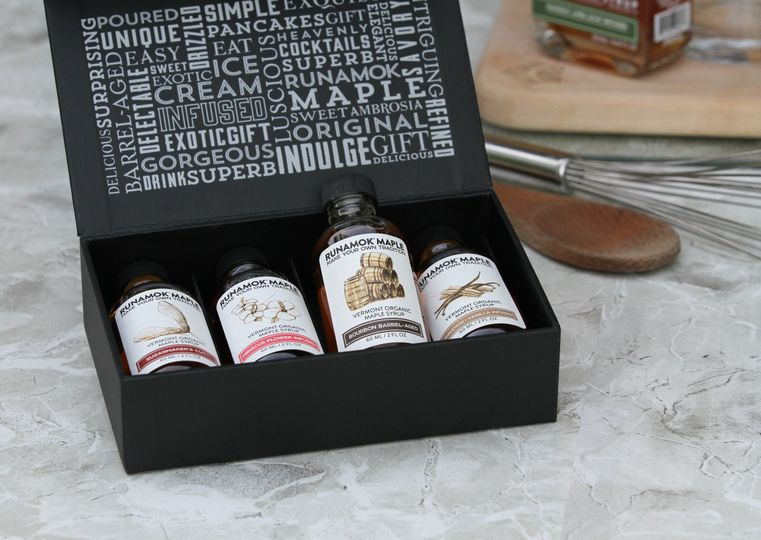 Runamok Maple 60ml gift boxes featuring unique maple syrup pairings.
